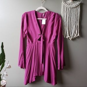 Free People Fuschia Pink Bell Sleeved Tunic/Dress